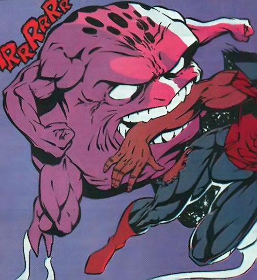 Glom (Marvel Comics) biting Quasar's arm