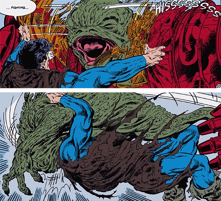 Superman is attacked by a Glommer on Apokolips