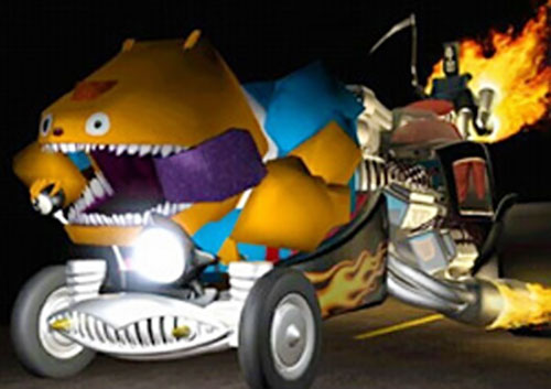 Glottis (Grim Fandango) riding the death car