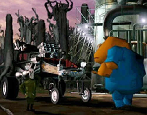 Glottis (Grim Fandango) in an industrial area