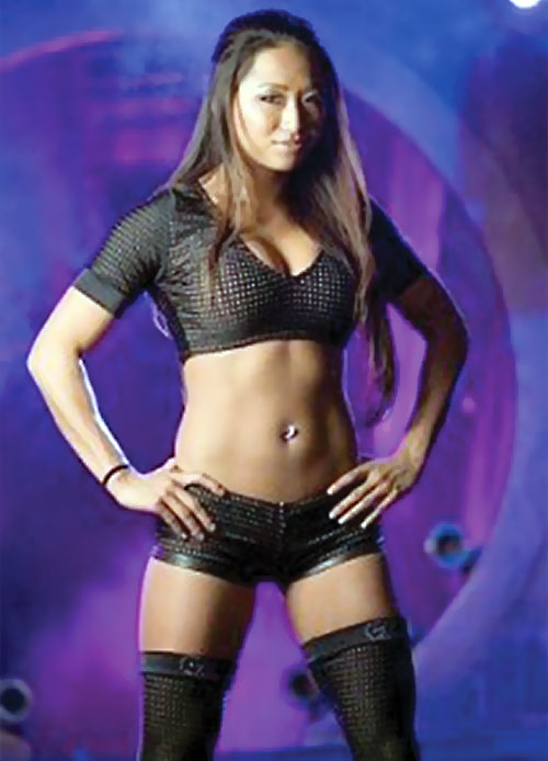 Wrestler Gail Kim in black hot pants