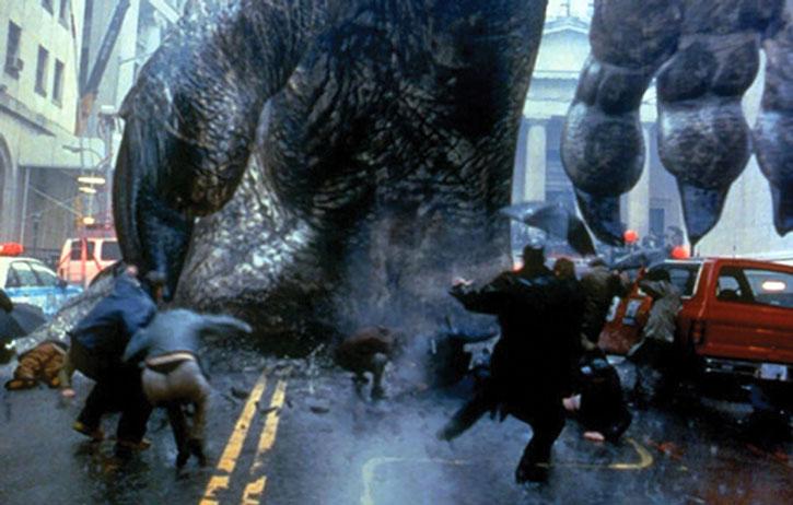 Godzilla stomping a street