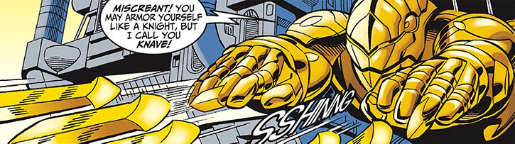 Golden Blade shooting blades from his gauntlets