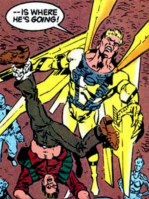 Golden Eagle of the Cadre / Aryan Brigade (JLA enemy) (DC Comics) takes off while holding a man by the ankle