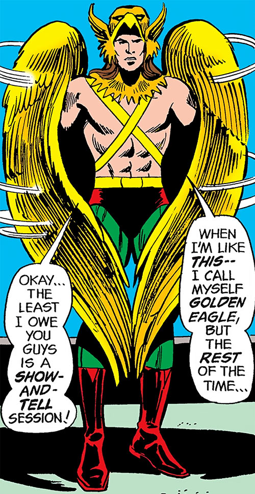 Golden Eagle (DC Comics) (Charley Parker) earliest costume in JLA