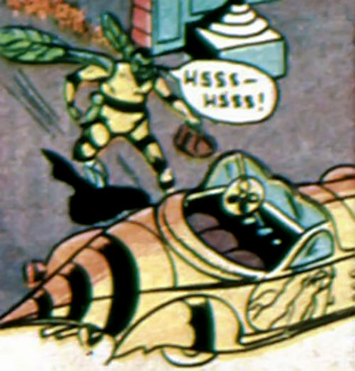 Yellow Wasp (Wildcat enemy) (DC Comics) and the waspmobile