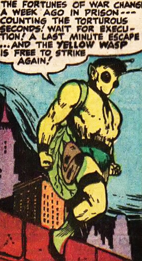 Yellow Wasp (1947 Wildcat enemy) (DC Comics) on a rooftop edge