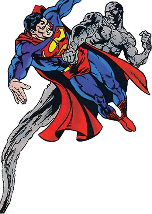 Golem of Hayoth (Suicide Squad ally) (DC Comics) fighting Superman in the air