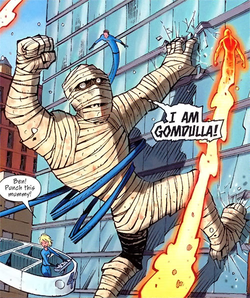 Gomdulla the Living Pharaoh (Marvel Comics giant mummy) vs. the Fantastic Four