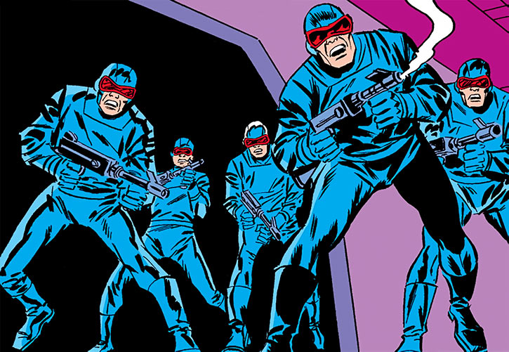 Comic book henchmen with energy rifles