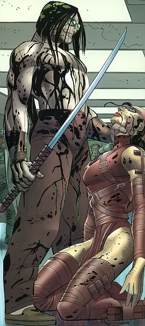 Gorgon (Wolverine / Secret Warriors enemy) (Marvel Comics) (Shishido) defeats Elektra
