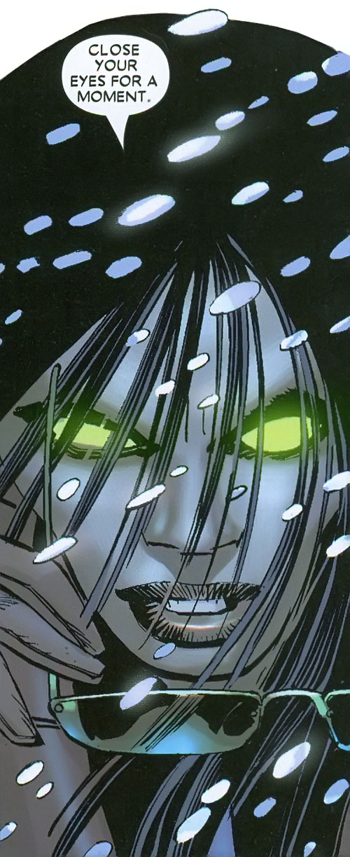 Gorgon (Wolverine / Secret Warriors enemy) (Marvel Comics) (Shishido) face closeup with glowing eyes