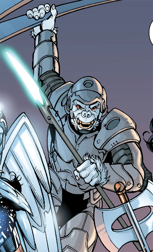 Gorilla Knights (Wonder Woman allies) (DC Comics) in armor with a force spear