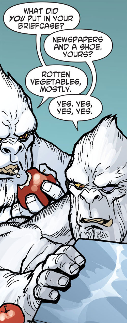 Gorilla Knights (Wonder Woman allies) (DC Comics) eating apples