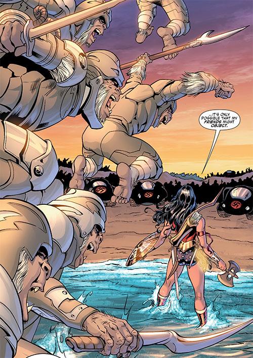 Gorilla Knights (Wonder Woman allies) (DC Comics) storming a beach