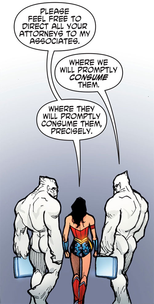 Gorilla Knights (Wonder Woman allies) (DC Comics) acting as her lawyers