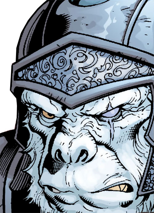 Gorilla Knights (Wonder Woman allies) (DC Comics) face closeup with helmet