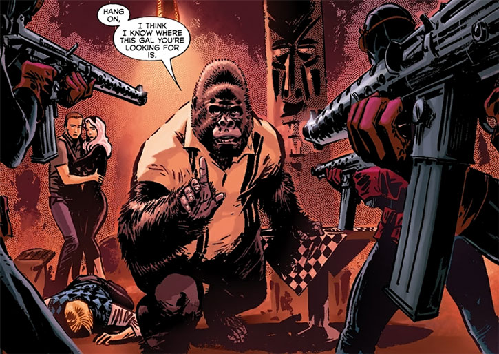 Gorilla-Man (Ken Hale) faces gunmen