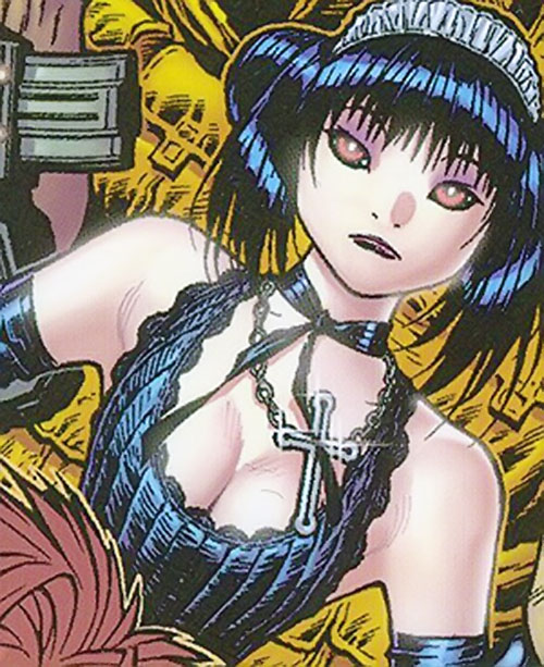 Gothic Lolita of the Livewires (Marvel Comics) face closeup