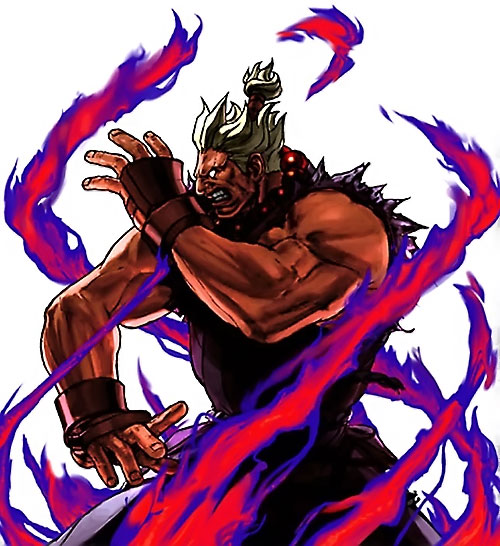 Gouki from Street Fighter video games in violet fire