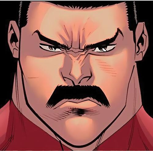 Grand Regent Thragg (Invincible Comics) face closeup and moustache