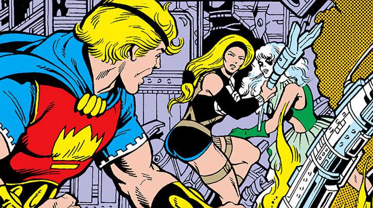 Grapplers - Marvel Comics - Letha and Screaming Mimi vs Quasar