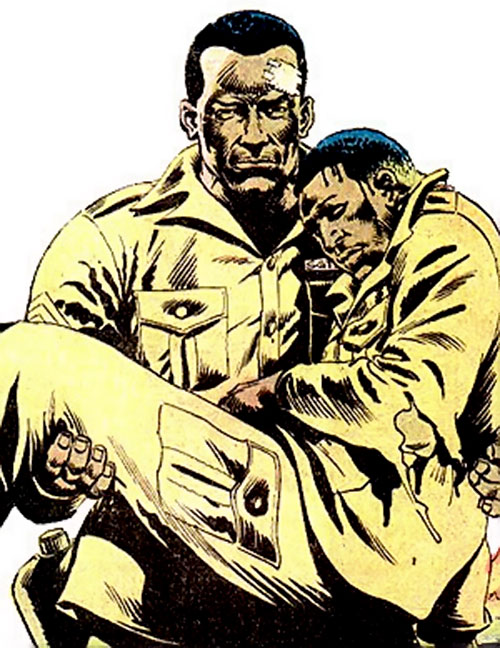 Gravedigger (Captain Ulysses Hazard) (DC Comics) carries a dead comrade