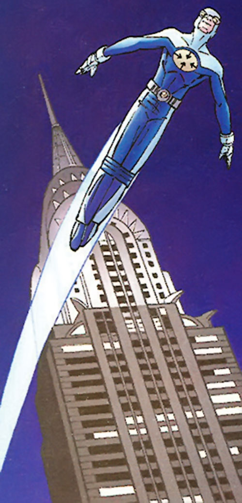 Gravity (Marvel Comics) flying in New York City