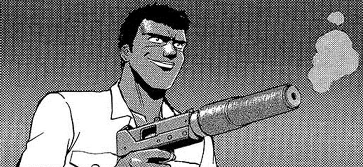 Gray with a suppressed Ingram machine pistol