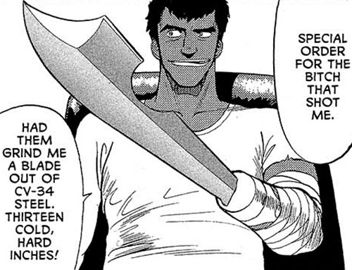 Gray (Gunsmith Cats manga) with his sword hand
