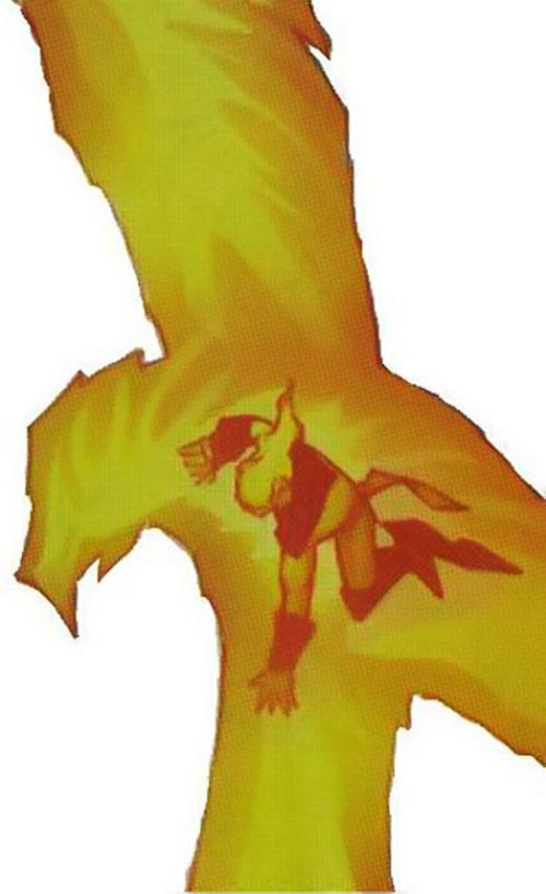 Gray King of Cerebro's X-Men (Marvel Comics) in a phoenix fire bird aura