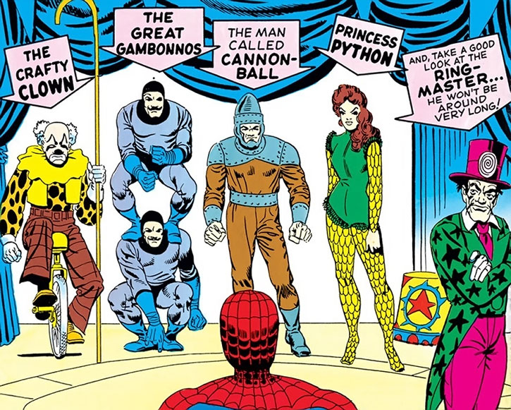 The Circus of Crime faces Spider-Man, by Steve Ditko