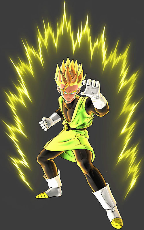 Great Saiyaman (Songohan) (Dragon Ball) radiating over a dark grey background