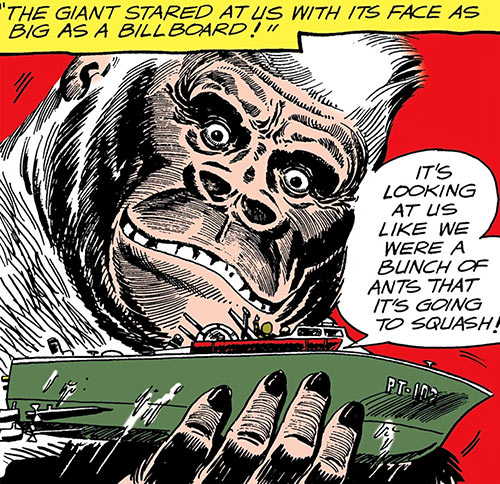 Great White Ape (War That Time Forgot) (DC Comics) holding a PT boat