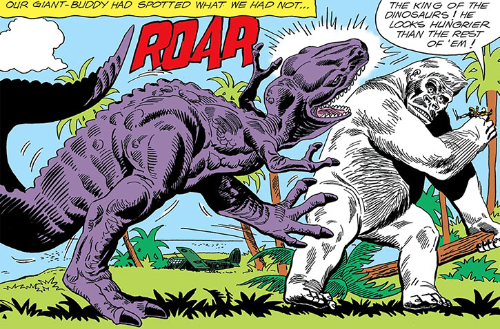 A giant dinosaur attacks the great white ape