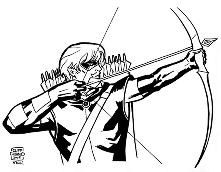 Green Arrow sketch by Cliff Chiang - drawing his bow