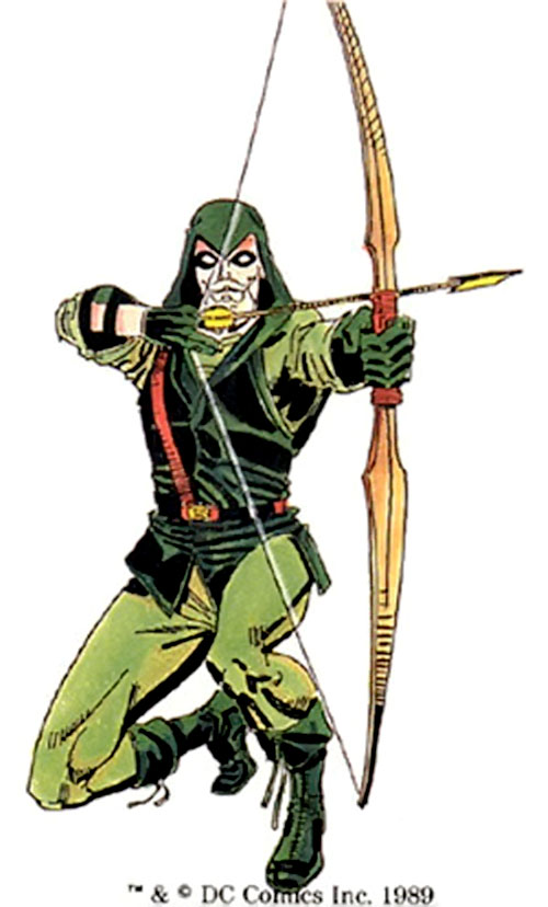 Green Arrow (DC Comics) kneeling and shooting