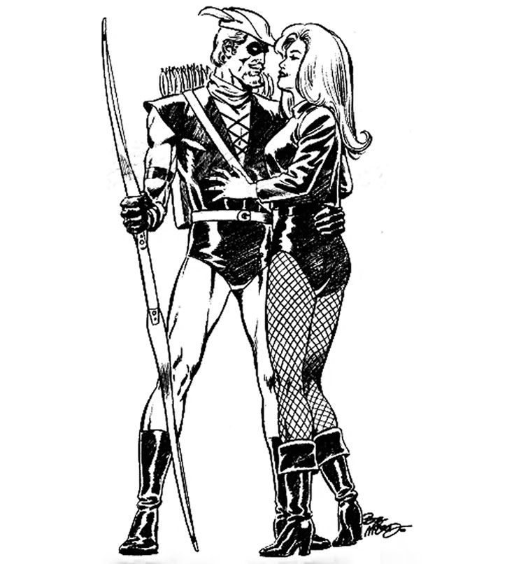 Green Arrow and Black Canary sketch by Bob McLeod