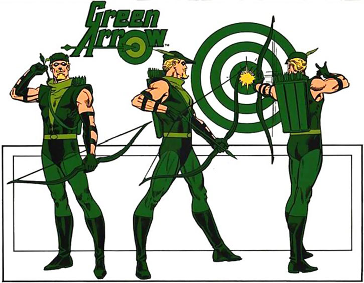 Green Arrow 1980s model and coloring sheet