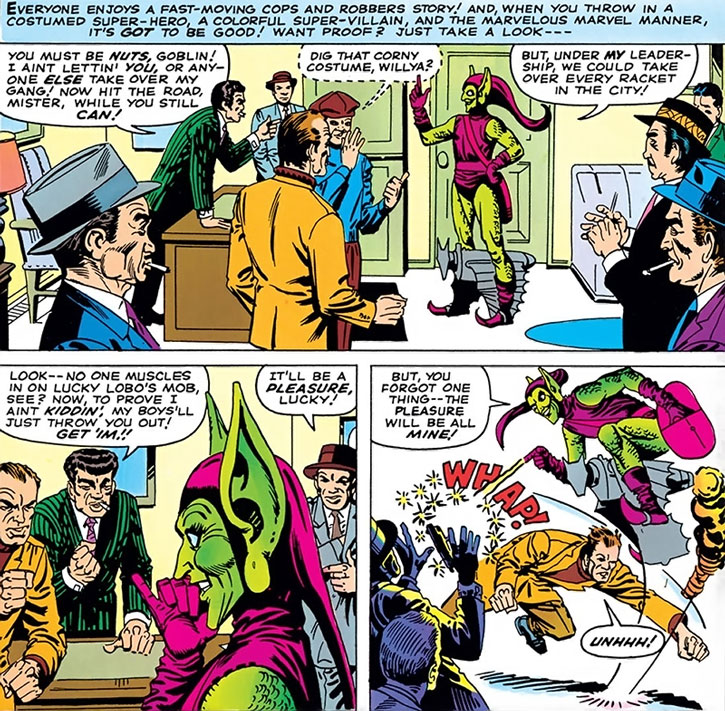 The Green Goblin (Norman Osborn) confronts the mob, by Steve Ditko