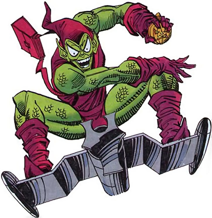 The Green Goblin (Norman Osborn) throws bombs from his glider