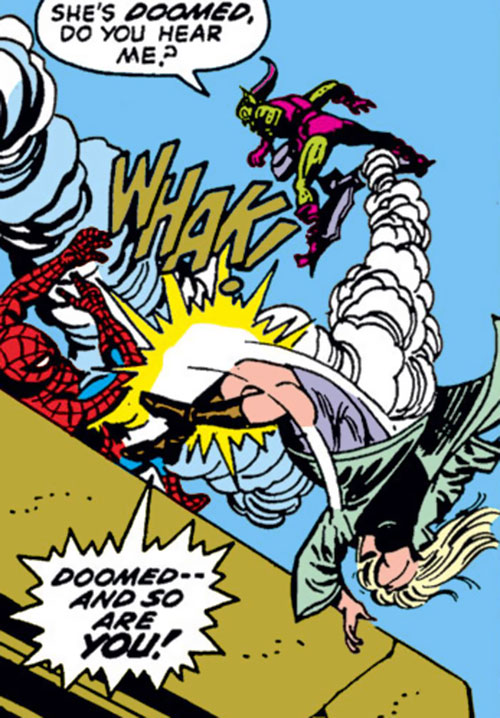 Green Goblin (Norman Osborn) (Marvel Comics) slams Gwen Stacy off the bridge