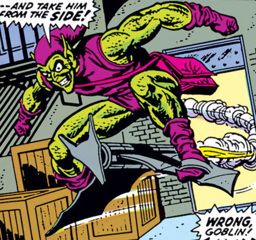 Green Goblin (Norman Osborn) (Marvel Comics) flying in a warehouse