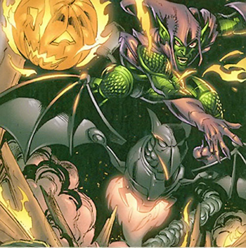Green Goblin (Norman Osborn) (Marvel Comics) throws a jack o' lantern