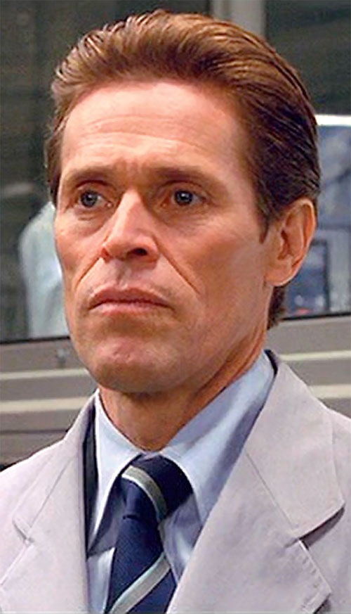 Green Goblin (Willem Dafoe in the Spider-Man movie) closeup with light gray coat