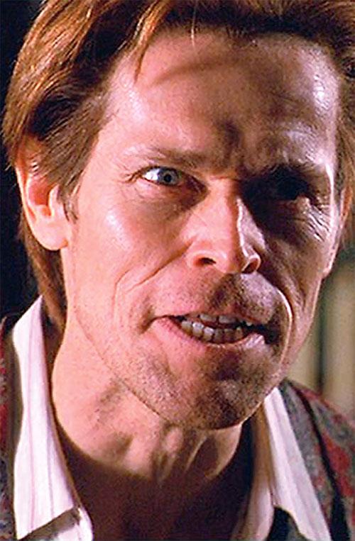Green Goblin (Willem Dafoe in the Spider-Man movie) looking intense