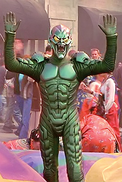 Green Goblin (Willem Dafoe in the Spider-Man movie) with his arms raised