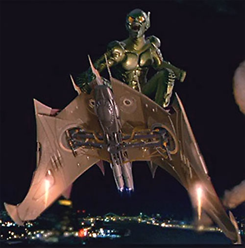 Green Goblin (Willem Dafoe in the Spider-Man movie) flying over New York City on his glider