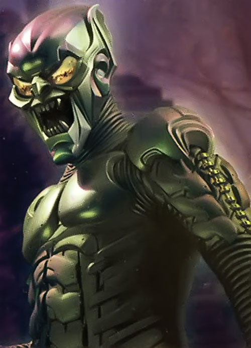 Green Goblin (Willem Dafoe in the Spider-Man movie) against the night sky