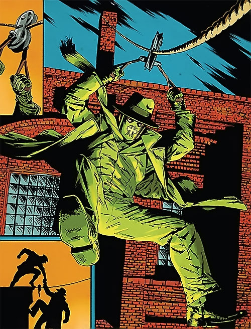 Green Hornet (Matt Wagner Dynamite Comics) using a zipline